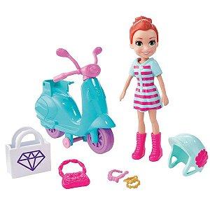Polly Pocket Aventuras Sobre Rodas Lila e Moto Mattel Gfp93