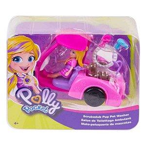 Boneca Polly Pocket Veiculo Banho e Cachorrinho Mattel Gdm08