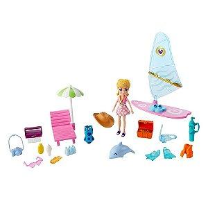 Polly Pocket Boneca Polly A Aventura na Praia Mattel Gft95