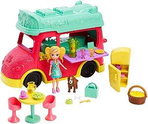 Polly Pocket Food Truck 2 em 1 Smoothies e Cafe Mattel Gdm20