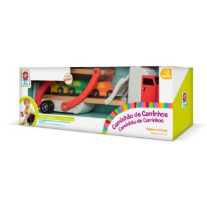 Brinquedo Caminhão de Carrinhos em Madeira Estrela