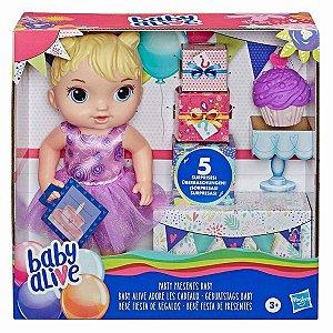 Boneca Baby Alive Bebe Festa de Presentes Loira Hasbro E8719