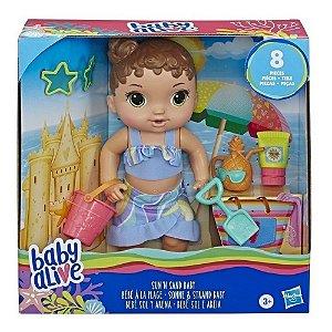 Baby Alive Bebe Sol e Areia Morena com 8 Peças Hasbro E8718