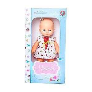 Brinquedo Boneca Bebe Nininha com Roupinha Surpresa Estrela