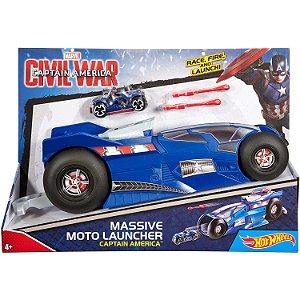 Hot Wheels Lançador Marvel Mega Moto Capitao America Dmx70