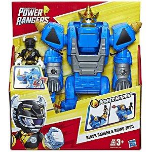Power Rangers Playskool Ranger Preto com Rhino Zord E5867