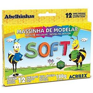 Massinha de Modelar Soft com 12 Cores Variadas Acrilex 07312