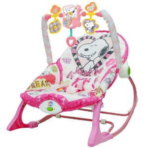 Cadeira de Balanço Snoopy Peanuts Rosa com Som YesToys 20122