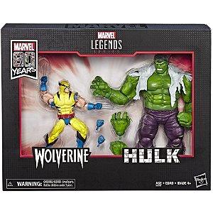 Figura Marvel Legends Series 80th Hulk e Wolverine HQ E6349