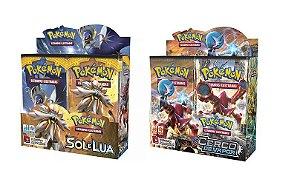 Combo Pokemon Box Sol e Lua 1  +  Box Cerco De Vapor