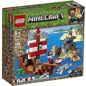 Lego Minecraft A Aventura do Barco Pirata 386 Peças 21152