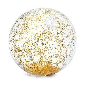 Bola de Praia Inflavel Transparente Glitter Dourada 58070