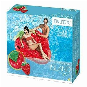 Boia Inflavel Colchao Ilha para Piscina Morango Intex 58781