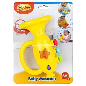 Brinquedo Musico Bebe Trompete com Som e Luzes WinFun 000642