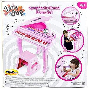 Brinquedo Novo Piano Sinfonia Rosa com Microfone WinFun 2045