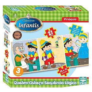 Quebra Cabeça Sequencia Logica Pinoquio Nig Brinquedos 0435