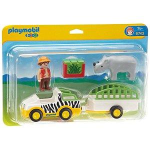 Brinquedo Playmobil 123 Caminhao Safari com Rinoceronte 6743