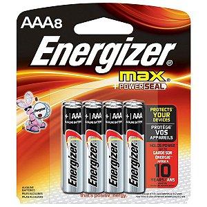 Pilha Energizer Max Power Seal AAA8 Palito Alcalina de 1,5V