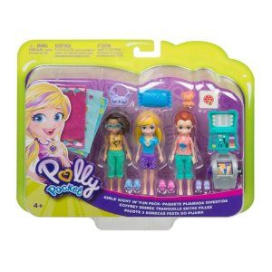 Polly Pocket Kit com 3 Bonecas Club House da Mattel Gmf82