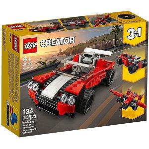 Lego Creator 3 em 1 Carro Esportivo Vermelho 134 Peças 31100