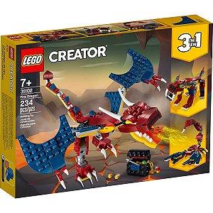 Lego Creator 3 em 1 Criatura Dragao do Fogo 234 Peças 31102