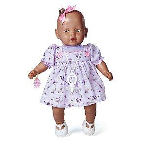 Brinquedo Boneca Nenezinho Negro Vestido Lilas Estrela