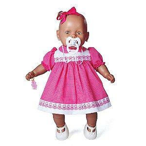 Brinquedo Boneca Nenezinho Negro Vestido Rosa Estrela