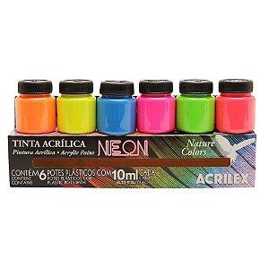 Brinquedo Tinta Acrílica Fosca Neon 6 Potes 10 ml Acrilex