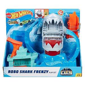 Brinquedo Pista Hot Wheels City Robo Tubarão Mattel GJL12