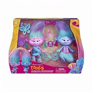 Brinquedo Gemeas Trolls Dupla Estilo Cetim Chenillle B6563