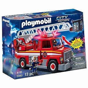 Novo Playset Playmobil City Action Caminhão De Bombeiro 5980