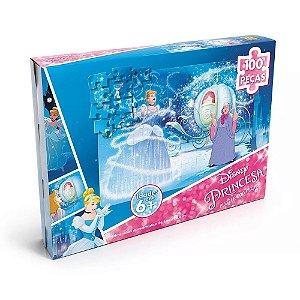 Quebra Cabeça Princesas Disney Cinderela 100 Peças Grow 2755