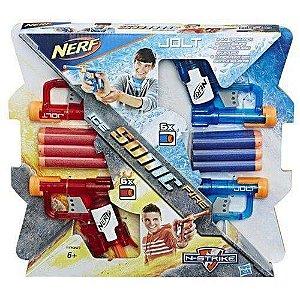 Brinquedo Nerf Sonic Fire e Ice Jolt 4 Lançadores A7957