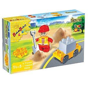 Brinquedo Blocos De Montar Banbao Funcionário De Obras 9666
