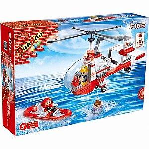 Bloco De Montar Banbao Bombeiro Helicóptero De Resgate 8305
