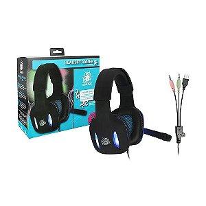 Fone Gamer Nemesis Headset Preto Com Luz De Led Azul