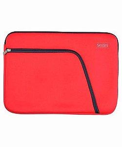 Capa Laptop Com Bolso 17 Vermelho Com Cinza Neoprene Sestini