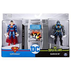 Figura DC Heroi e Vilao Superman e Darkseid da Sunny 2194