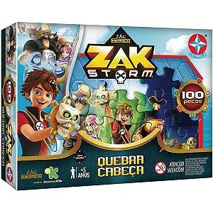 Quebra Cabeça Zag Heroes Zak Storm com 100 Peças da Estrela