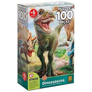 Quebra Cabeça Infantil Dinossauros com 100 Peças Grow 02660