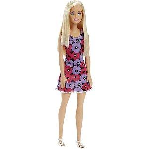 Boneca Barbie Basica Loira com Vestido Florido Roxo T7439
