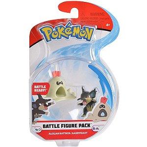 Figura de Batalha Pokemon Ratatta de Alola e Sandygast 4842