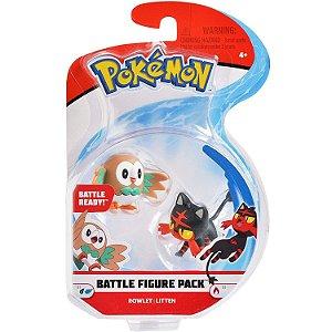 Figura de Batalha Pokemon Pack Rowlet e Litten da Dtc 4842