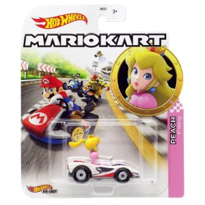 Hot Wheels Mario Kart Peach e Veiculo P-Wing da Mattel Gbg25