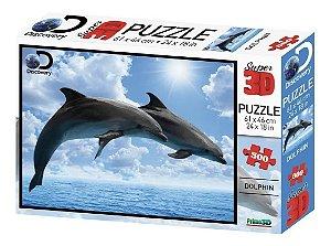 Novo Quebra Cabeça 3d Golfinhos 500 Peças Multikids Br1063