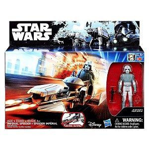 Veiculo Star Wars Imperial Speeder e Elite Pilot AT-DP B3716