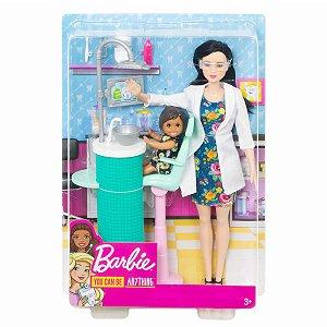 Boneca Barbie Quero Ser Dentista Doll Morena e Criança Dhb63