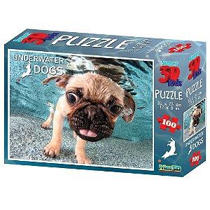 Quebra Cabeça 3D Pug na Agua com 100 Peças Multikids BR1050