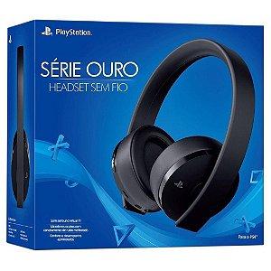 Fone Headset Sem Fio Wireless Serie Ouro Preto para Ps4 Sony