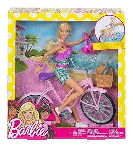 Brinquedo Boneca Articulada Barbie E Bicicleta Mattel Ftv96